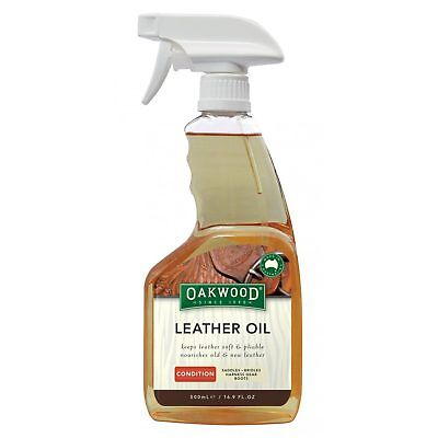 Oakwood Leather Oil 500ml Soften Restore Nourish Saddlery Saddles Boots Bags