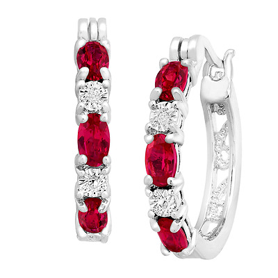 Finecraft 2 ct Created Ruby Hoop Earrings with Diamonds in Platinum-Plated Brass