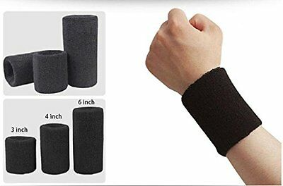 Wonzone 1 Pairs 6 inch Wrist Sweatband Sports Basketball Wristband Brace Black