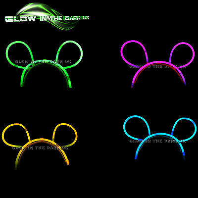 24 x Glow in the Dark Bunny Ears - Glow Stick Bright Neon - Parties Festivals