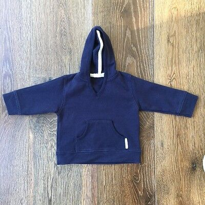 PURE BABY Boys Size 000 Navy Blue Hoodie Jumper Pull Over Top Windcheater