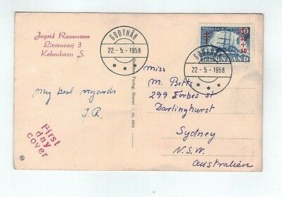 1958 Greenland Royal T.B. Relief Fund FDC On Prinsesse Margrethe Photo Post card