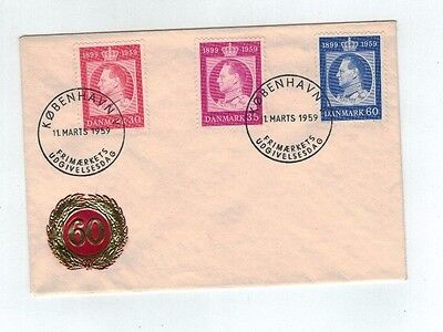 1959  Denmark  King Frederick IX 60th Birthday FDC Imbossed Gold & Red 60