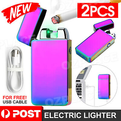 2X USB Rechargeable Electric Cigarette Lighter Pulse Arc Windproof Metal