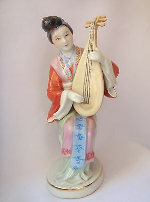 Antique Chinese Porcelain Figurine Jingdezhen Vintage China Girl with Pipa