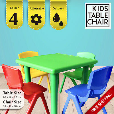 4 Colour Kids Toddler Children Square Activity Table Chair Chairs Outdoor Play
