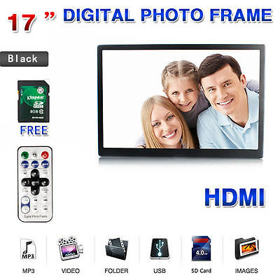 "17"" Black Digital Photo Frame HDMI MP3 AVI Audio Video Photograph Picture + 8GB"