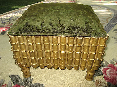 Victorian Antique Old Foot Stool Sewing Thread Spools-Tramp Art-Shipping Extra