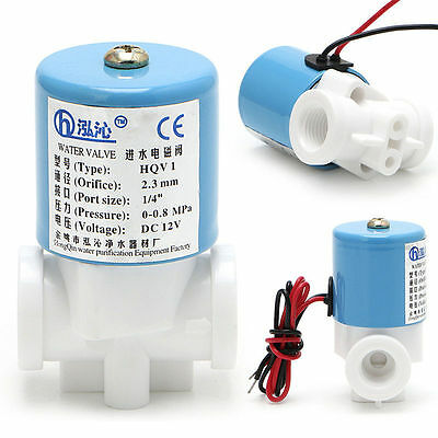 "G1/4"" Solenoid Valve Plastic Normally Closed 2 Way 12V DC 0-120PSI 0-0.8MPa"