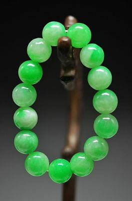 Exquisite Chinese old jade carved beads Hand woven elastic Bracelet ad12