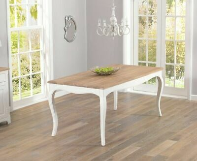 Adele French Painted Dining Furniture Dining Table with Oak top & 4 chairs sets