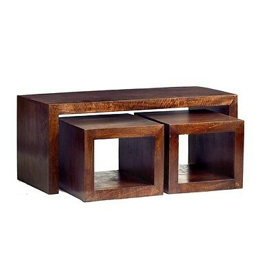 Aron Dark Mango Eco Wood Handcrafted Furniture Nest of Cubed Coffee Table Set