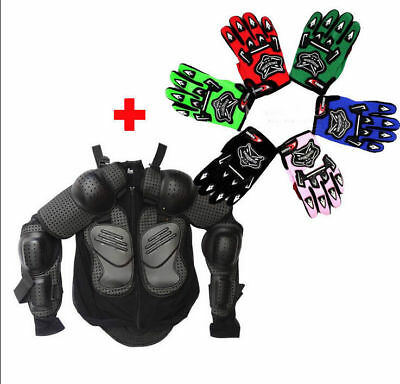 Motorcycle Kid Child Body Armour Armor Jacket Guard Motocross Protective+Gloves