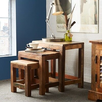 Poole Reclaimed Wood Furniture Nest of 3 Tables