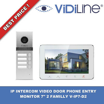"IP INTERCOM VIDEO DOOR PHONE ENTRY MONITOR 7"" 2-FAMILLY NEW V-IP7-D2 WiFi !!!"