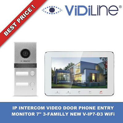 "IP INTERCOM VIDEO DOOR PHONE ENTRY MONITOR 7"" 3-FAMILLY NEW V-IP7-D3 WiFi !!!"
