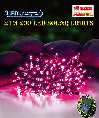 200 Led 20.9M Pink Solar Christmas Wedding Party Fairy String Lights