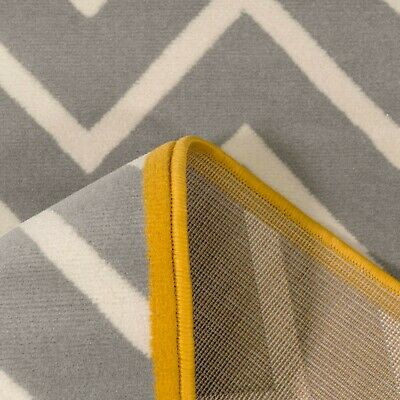 Silver Grey Yellow Bordered Zig Zag Geometric Rug Soft Chevron Living Room Rugs