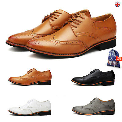 Mens Real Leather Lace Up Casual Office Smart Formal Oxford Brogue Shoes Size