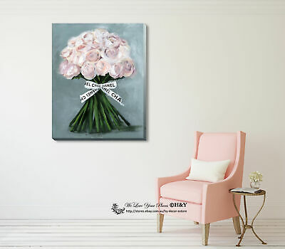 Pink Rose Fashion Stretched Canvas Print Framed Wall Art Home Decor Painting DIY