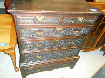 Antique Oak Carved Chest Of  7 Draws 1800 Chest On Stand Original Condition