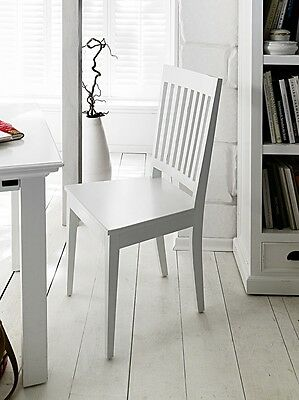 Florence White Painted Mahogany Furniture Slatback Dining Chairs PAIR