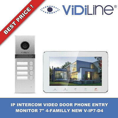 "IP INTERCOM VIDEO DOOR PHONE ENTRY MONITOR 7"" 4-FAMILLY NEW V-IP7-D4 WiFi !!!"
