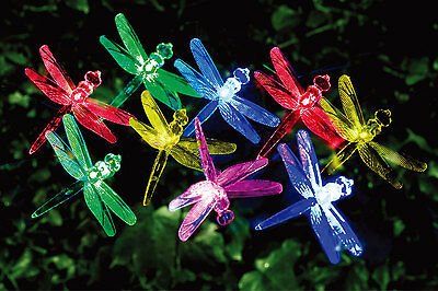 20 LED Multi-Colored SOLAR DRAGONFLY CHRISTMAS OUTDOOR GARDEN LIGHTS