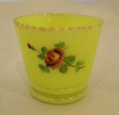 Antique Custard Glass w Hand Painted Pink Rose Cup From a Fair   SHP