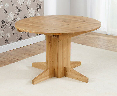Trend solid oak furniture round extending dining table