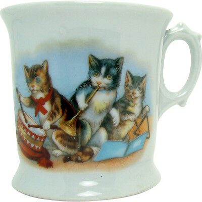 German Porcelain Mug with Three Cats Playing Musical Instruments - 1900's