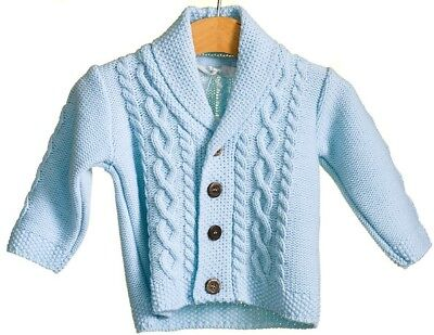 Baby Boy's Sky Blue Traditional Knitted Cable Cardigan 0-24 Months