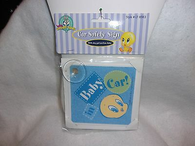 """Baby Looney Tunes Tweety Bird """"Baby In Car"""" Sign~New In Package!"""