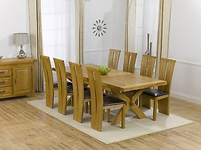 Norfolk solid oak furniture extending Dining Table with 8 Arizona Chairs Set