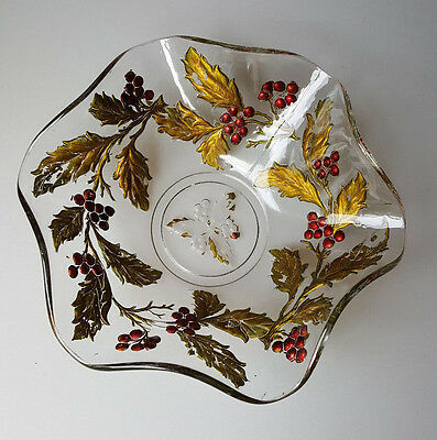 Goofus glass holly and berries pattern-decorated ruffle-edge bowl 10in Christmas