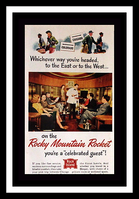 1947 Rocky Mountain Rocket Train Ad - Railroad - Vintage Advertising Page 1940s