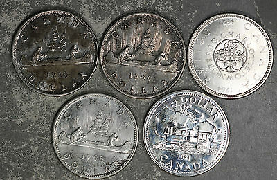 Five Canada Silver Dollars - 1953, 1960, 1964, 1966 and 1981