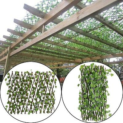 200cm Artificial Trellis Leaf Fence Garden Home Expands Long w/ Ivy UV Protected