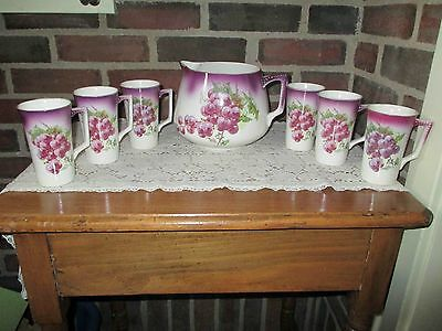 Antique Dresden Grape Design Pitcher and 6 Cups/Mugs with Handles - c1900