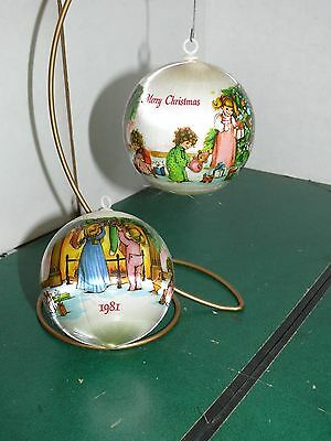 "VINTAGE lot 2 Unbreakable Satin Ornament Merry Christmas 1981,  3"" in diameter"