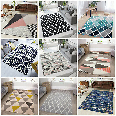 Modern Cheap Geometric Rugs Thick Shaggy Rugs Ochre Grey Rugs For Living Room UK