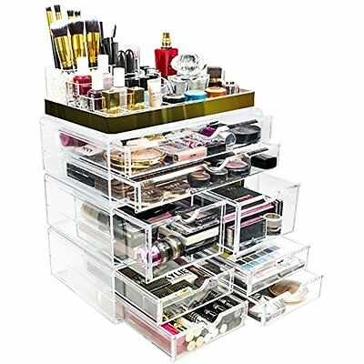 Sorbus Acrylic Makeup and Jewelry Case Display with Gold Trim