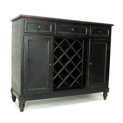 Wayborn Wine Rack Sideboard in Antique Black