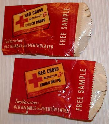 Vintage 1950s 1960's (2) RED CROSS Free Sample Packs COUGH DROPS Old Store Stock