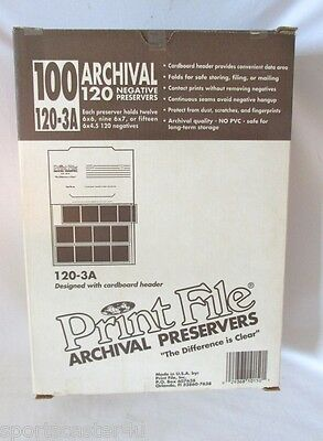 NEW! Print File 120-3 Archival Negative Preservers 50 Page LOT