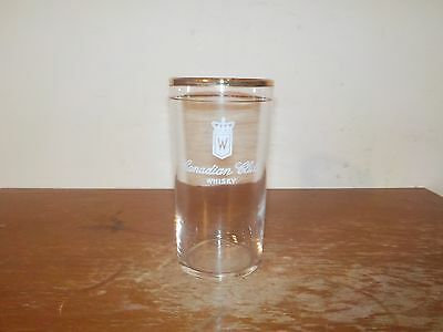 Vintage Canadian Club Whisky Federal Glass Clear Drinking Glass with Gold Rim