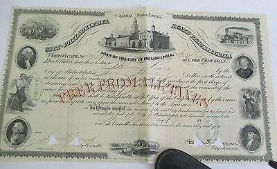 CITY OF PHILADELPHIA LOAN CERTIFICATE, 1871 with Vignettes