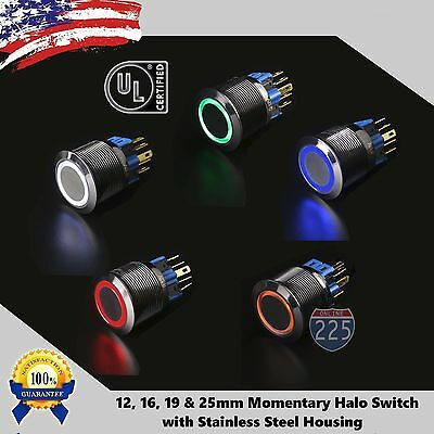 Angel Eye LED Momentary Stainless Steel Push Button Panel Mount Power Switch LOT