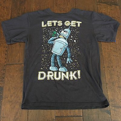 Futurama A0904 TV Series Bender Lets get Drunk T-Shirt Medium Brown