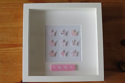 Personalised picture frame PRAMS /new baby /christening /nursery /scrabble tiles